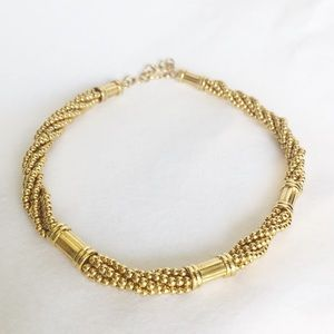 Vintage   Gold Beaded Choker Necklace